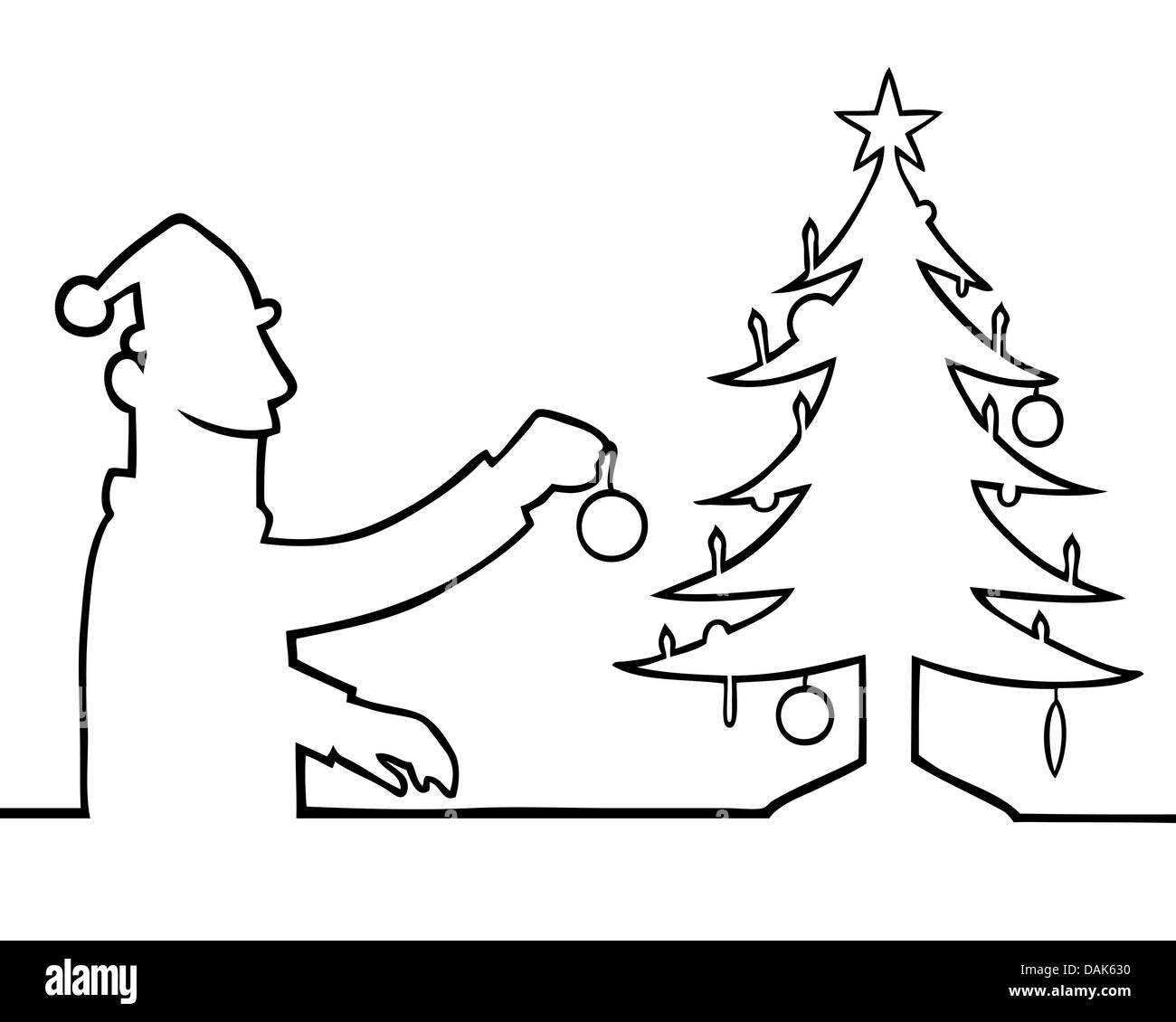 Black People Decorating For Christmas black line art illustration of a man decorating a christmas tree