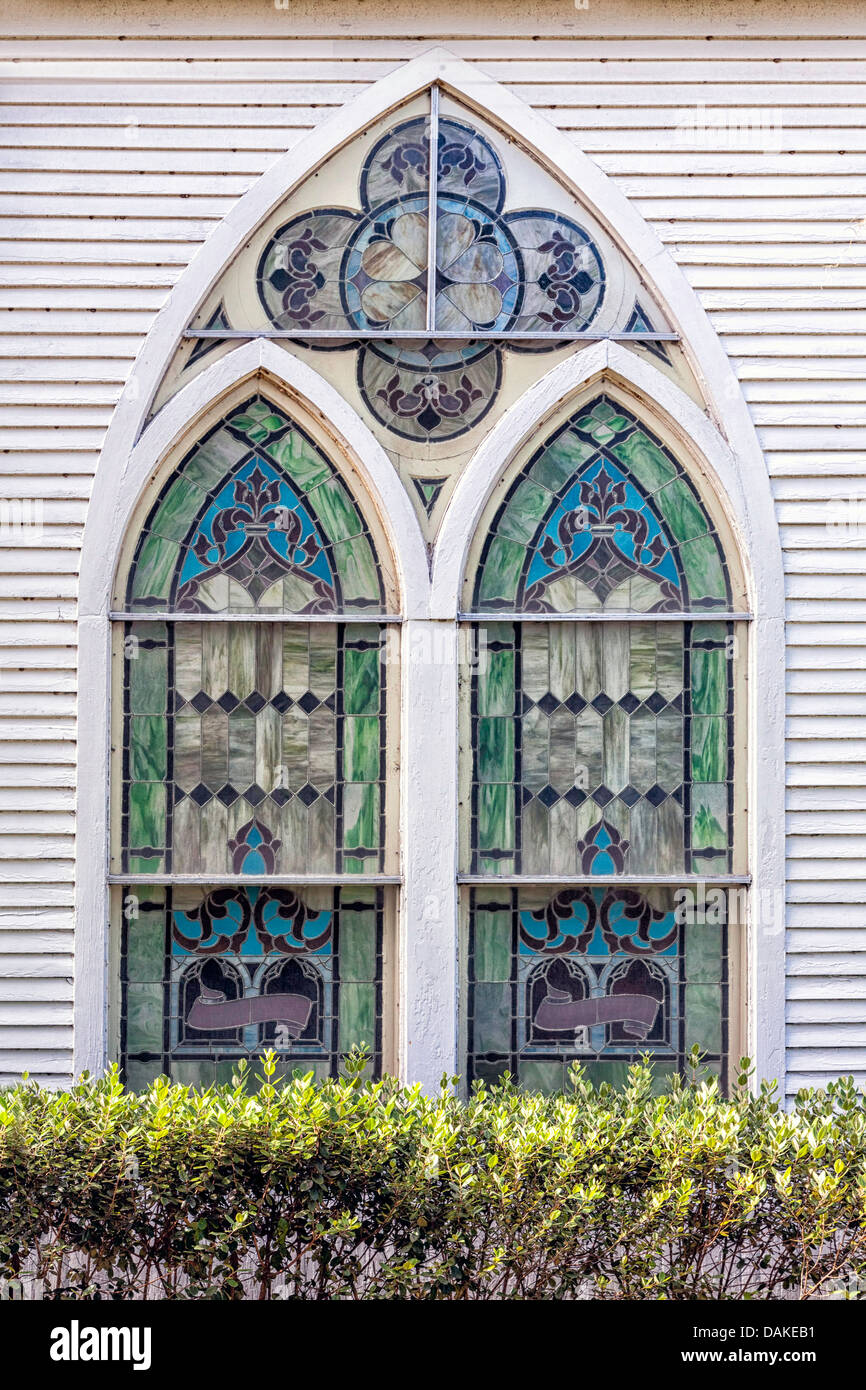 Stained Glass Gothic Arch Window In Rural Historic McIntosh Presbyterian Church C1907