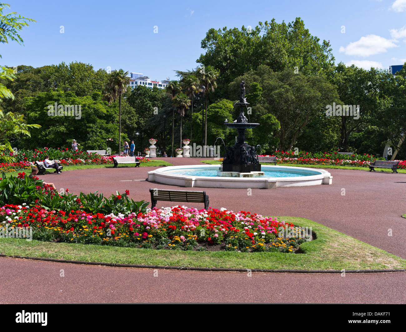 Water fountains auckland -  Dh Albert Park Auckland New Zealand People Sitting Bench Relaxing Fountain Pool Flower Garden Stock
