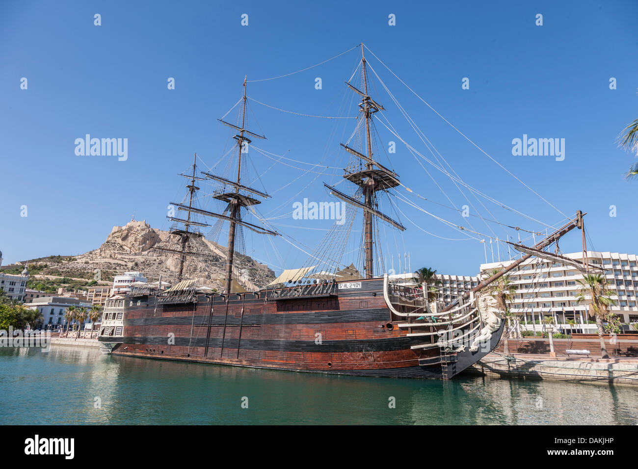 Replica of the historic santisima trinidad in the harbour - Stock uno alicante ...