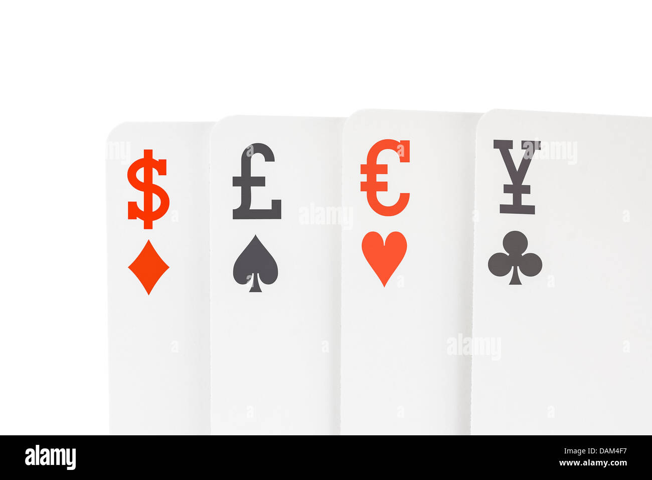 Foreign exchange playing cards with dollar euro pound yen symbols foreign exchange playing cards with dollar euro pound yen symbols biocorpaavc Images