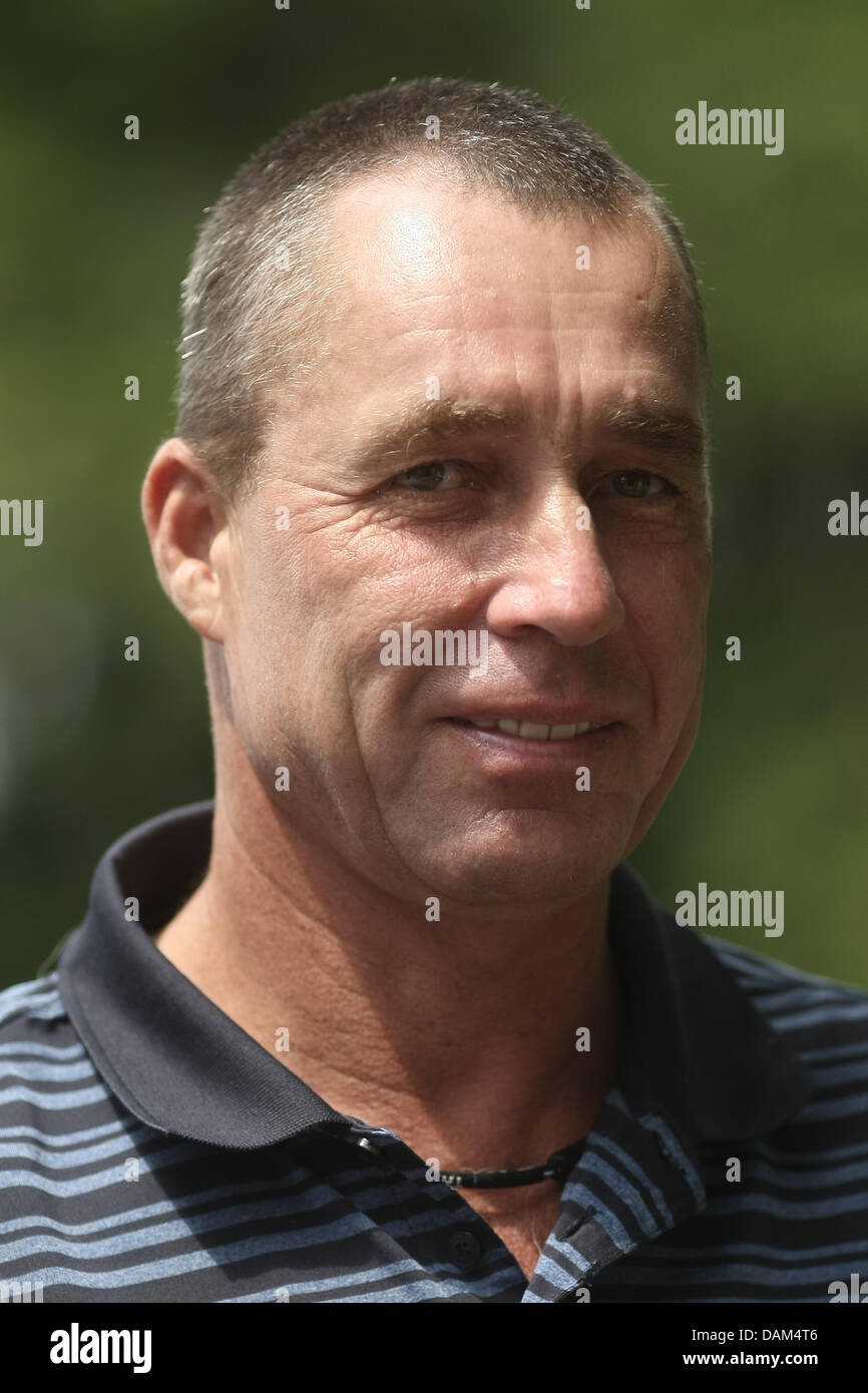 Former tennis pro Ivan Lendl smiles during the Cup of Legends at