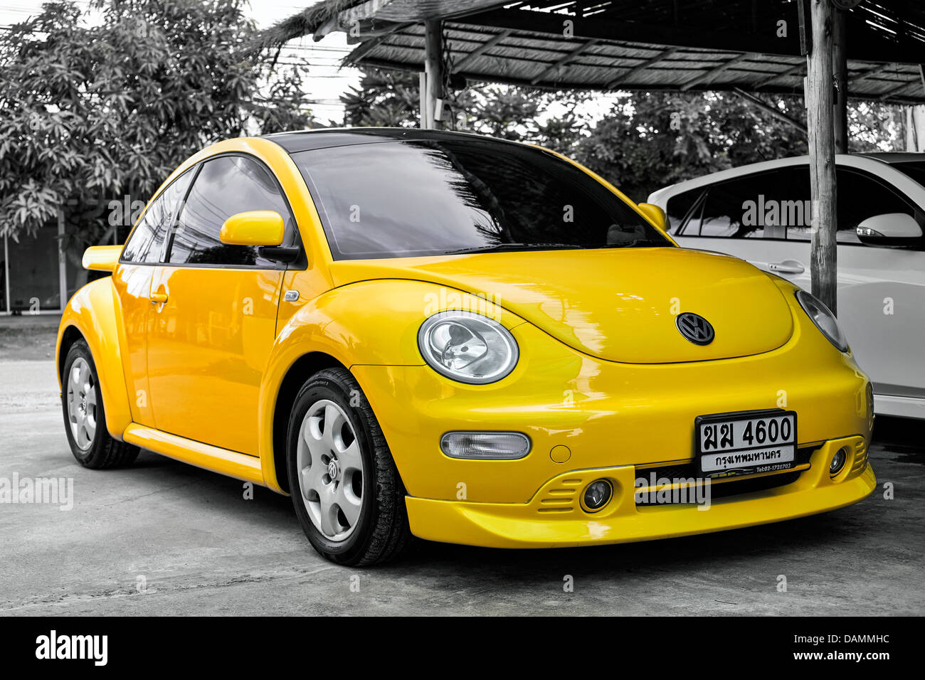 vivid yellow modern volkswagen vw beetle motorcar thailand s e stock photo royalty free image. Black Bedroom Furniture Sets. Home Design Ideas