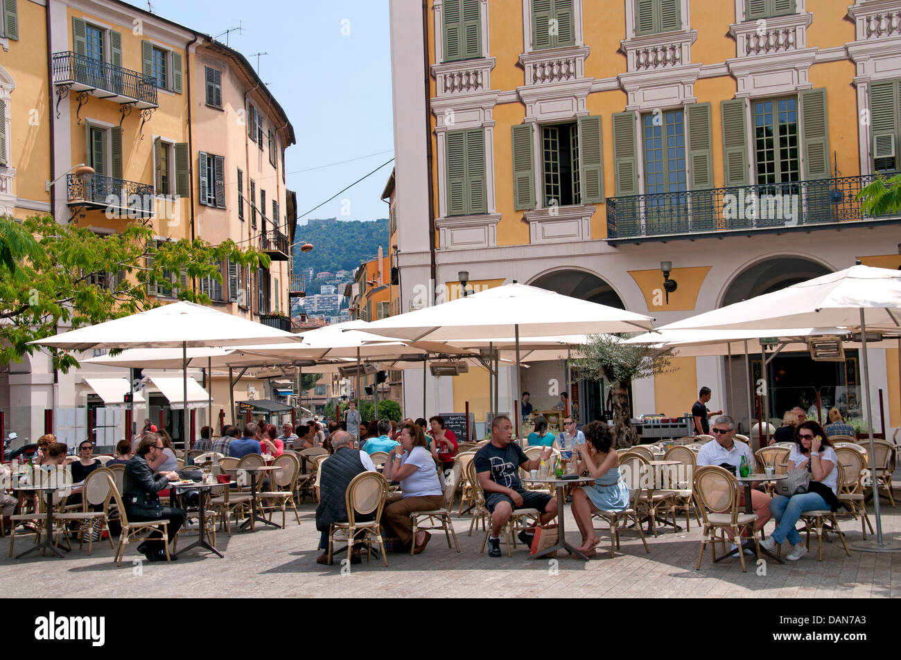 restaurant place garibaldi nice french riviera cote d 39 azur france stock photo royalty free. Black Bedroom Furniture Sets. Home Design Ideas