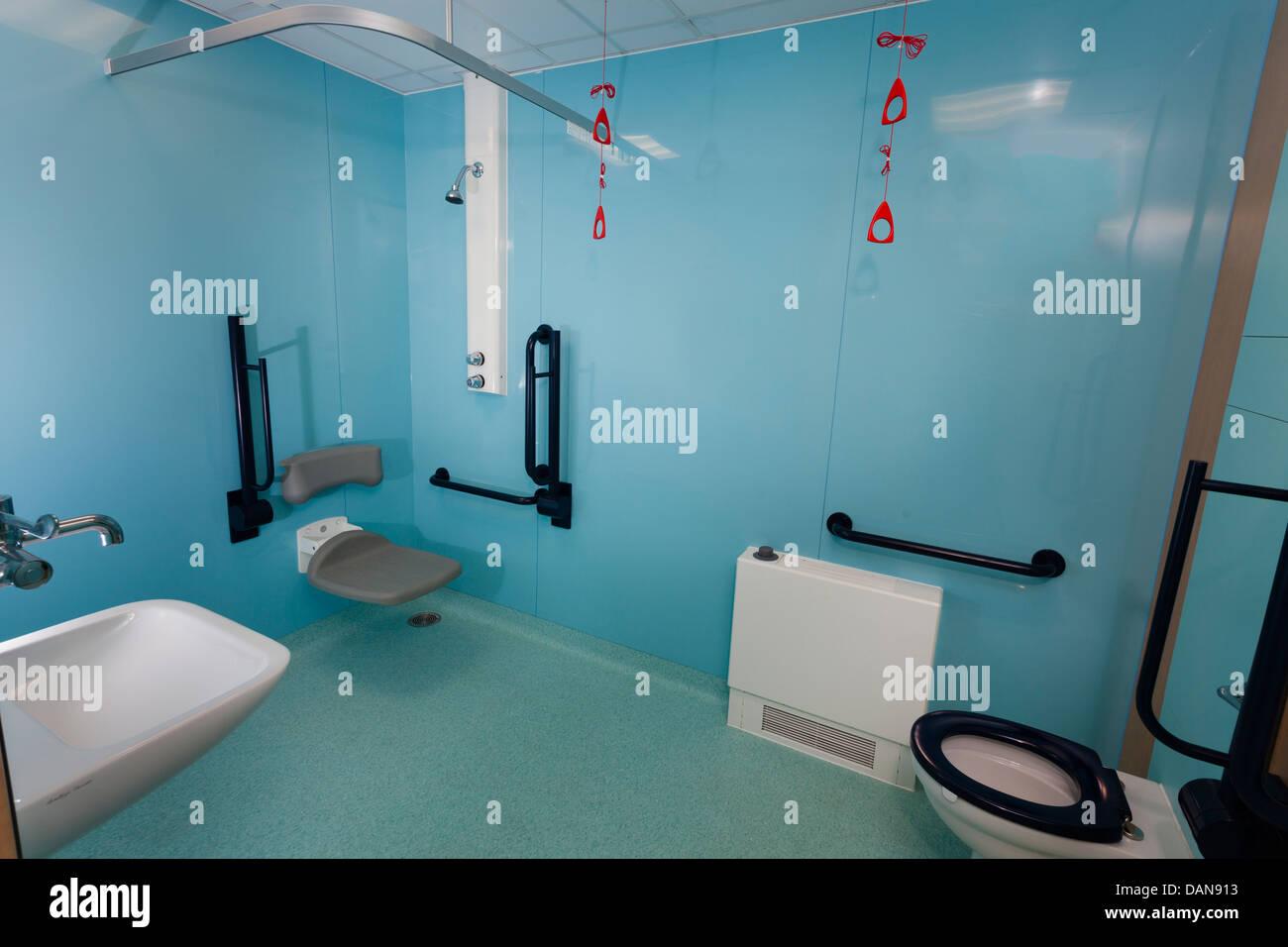 hospital bathroom. Hospital bathroom with disabled assistance bars  Stock Photo
