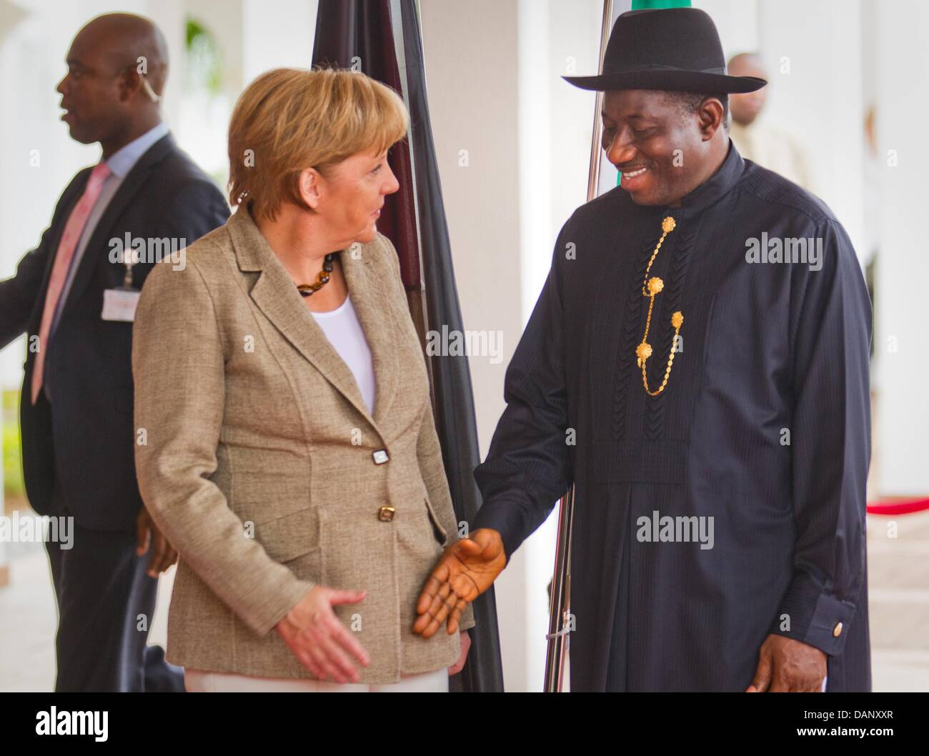 Angela Merkel visit German Chancellor Angela Merkel is greeted by President of Nigeria Goodluck  Jonathan in Abuja, Nigeria