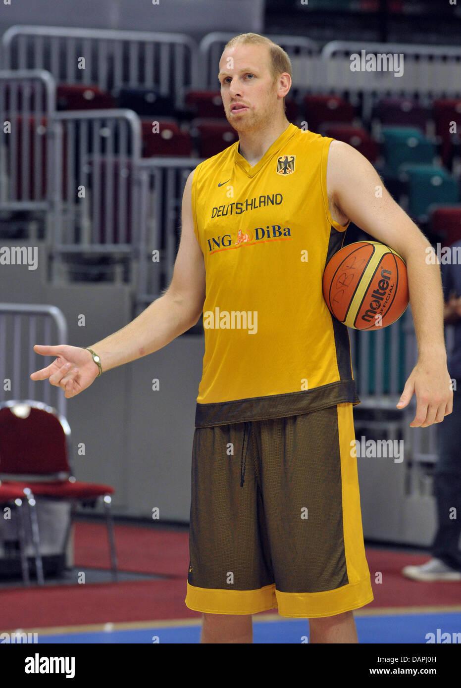 German national basketball team player Chris Kaman keeps the ball