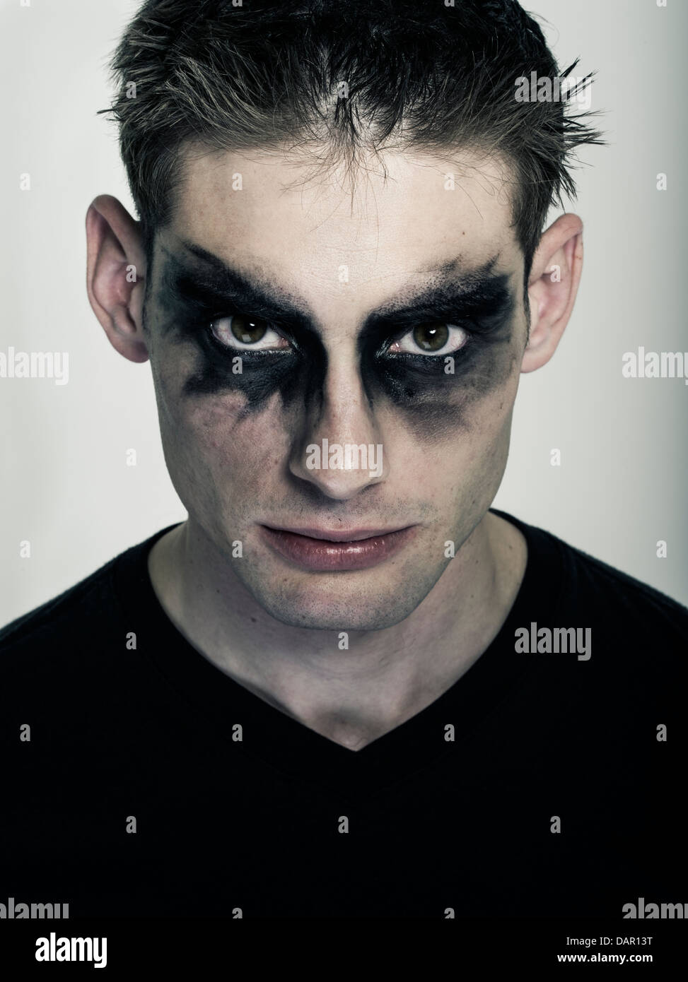 male goth man in goth makeup punk subculture stock