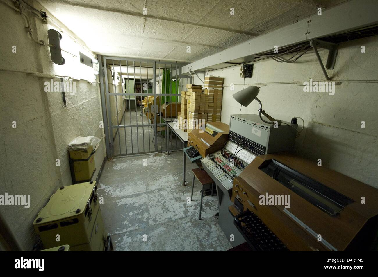 The cypher room of the Stasi bunker in Machern, Germany