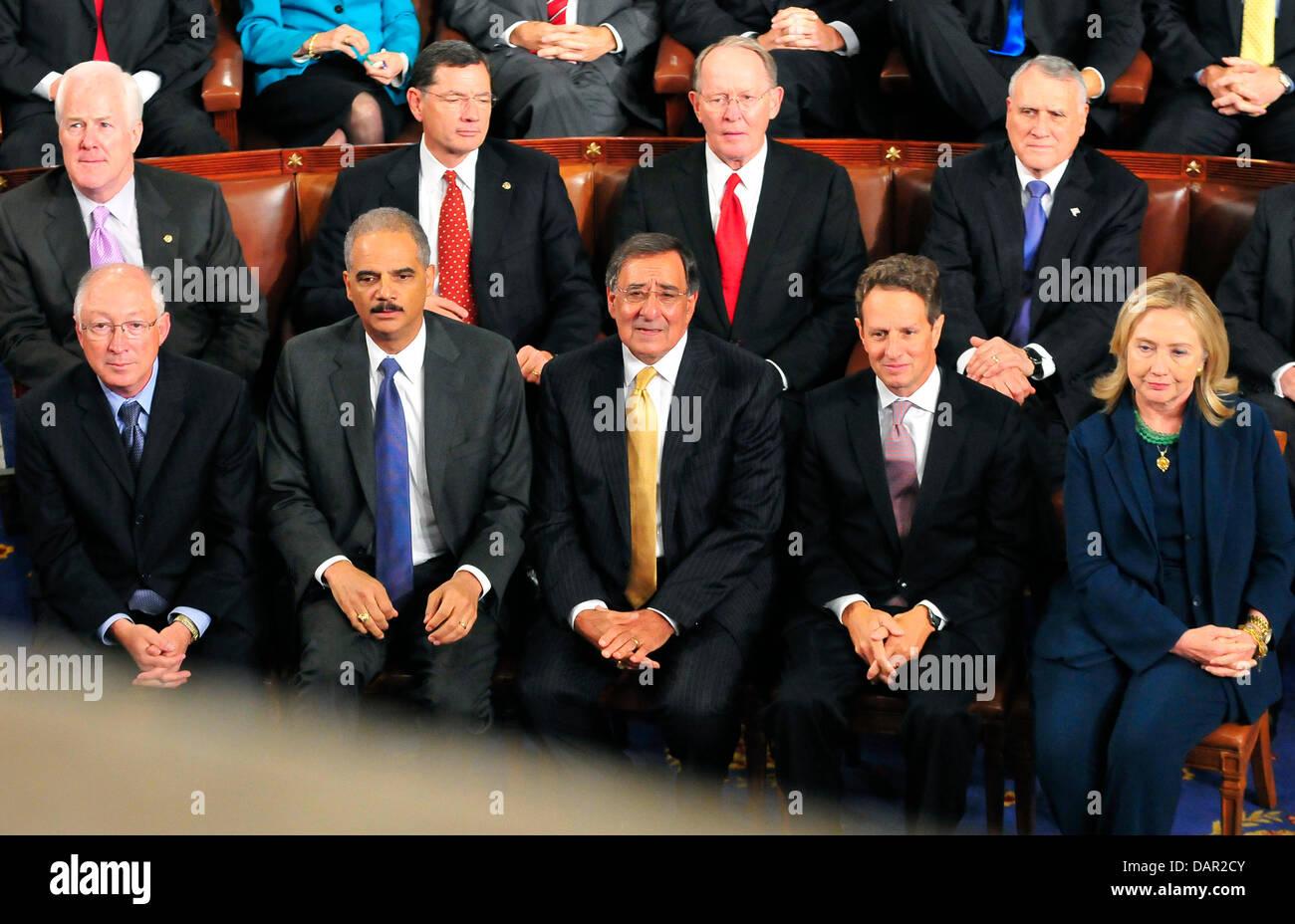 Republican Senators and Cabinet Officials listen as United States ...