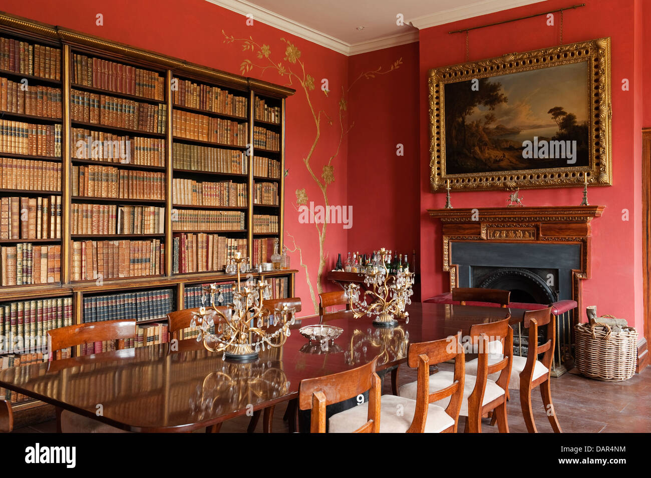 Library Of Books In Dining Room Gloucestershire Country Estate House