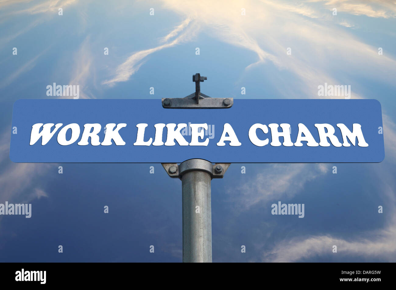 work like a charm road sign stock photo royalty free