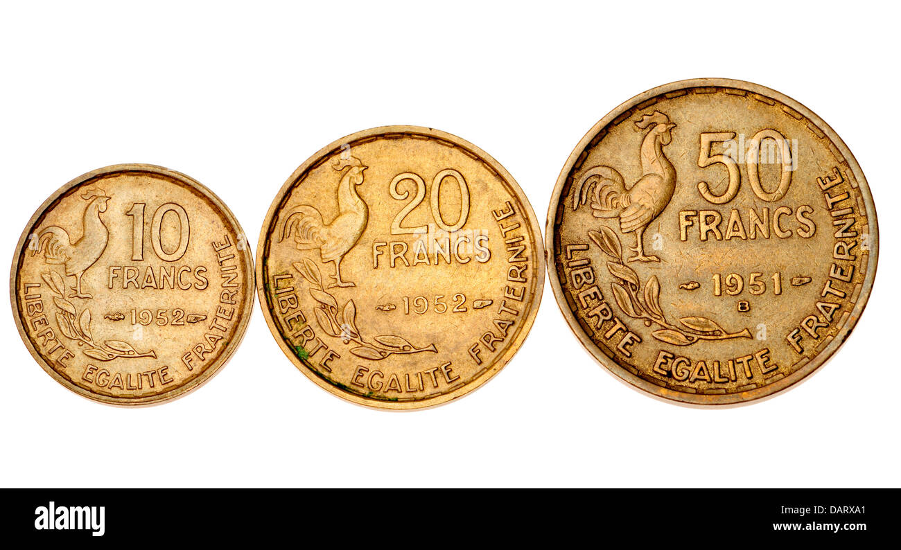 Old french franc coins 1950s 10 20 and 50 old francs for France francs