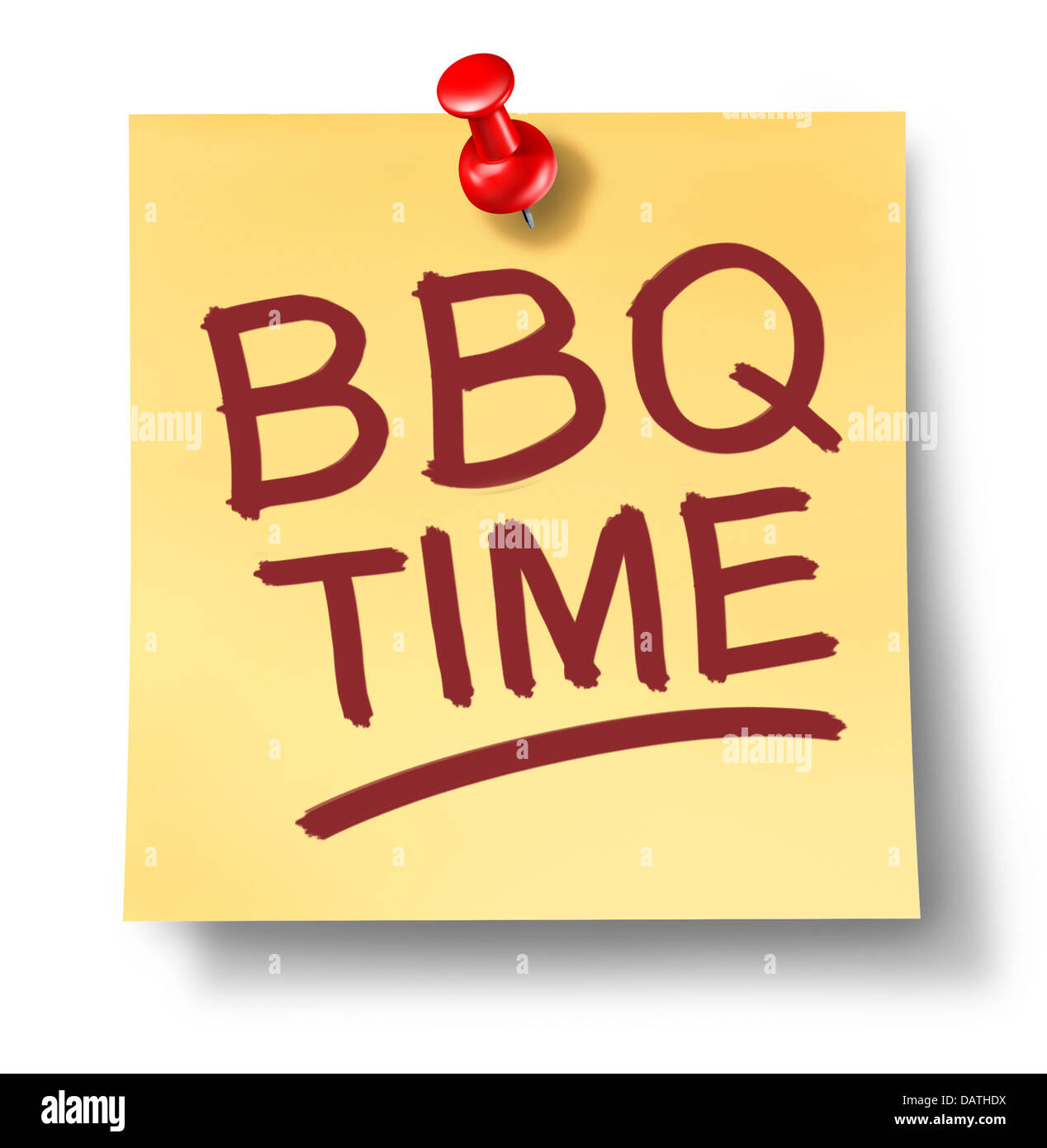 Etonnant ... Saying BBQ Time On A White Background With A Red Thumb Tack As A  Leisure Activity Symbol Of Cooking Meat On A Hot Grill For An Outdoor Party  Or Summer
