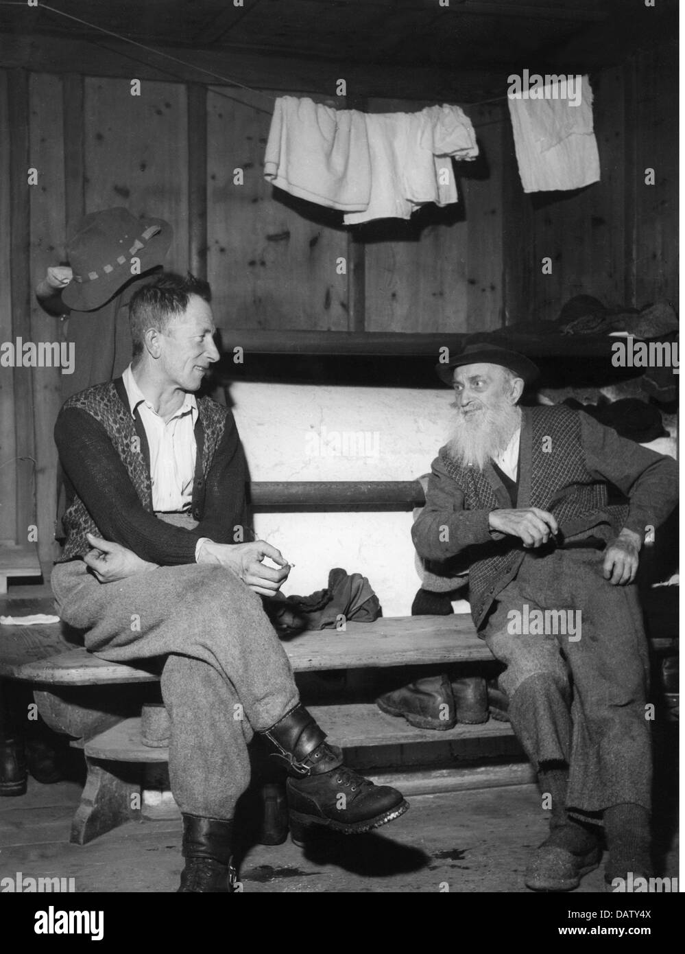 Agriculture Mountain Farmer Two Men Having Conversation In The Stock Photo Royalty Free Image
