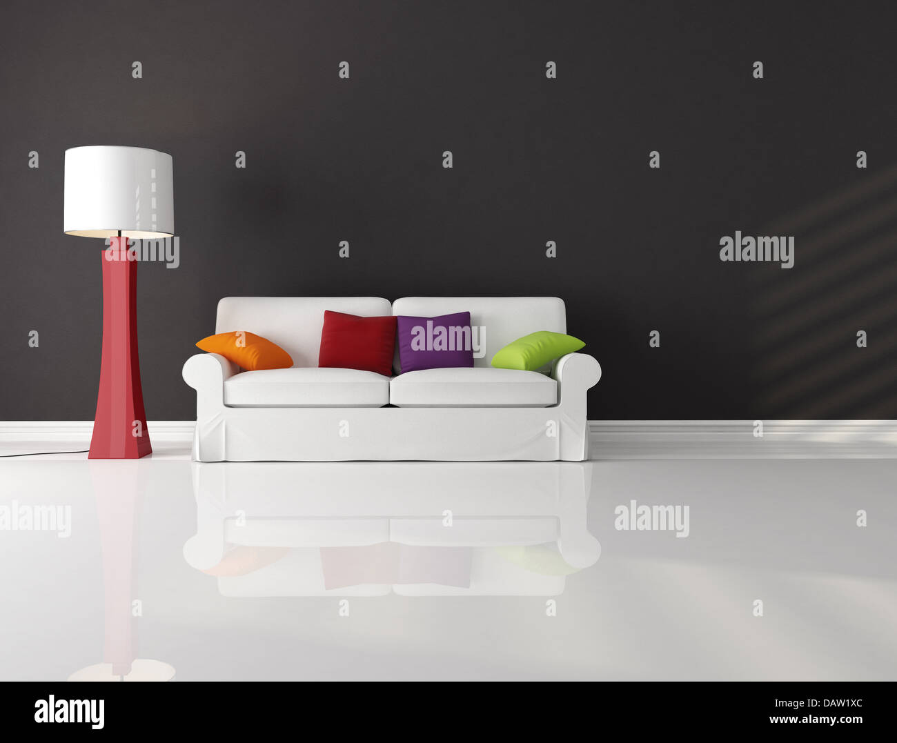 Stock Photo - White Couch With Cushion In A Black And White Living  Room-rendering