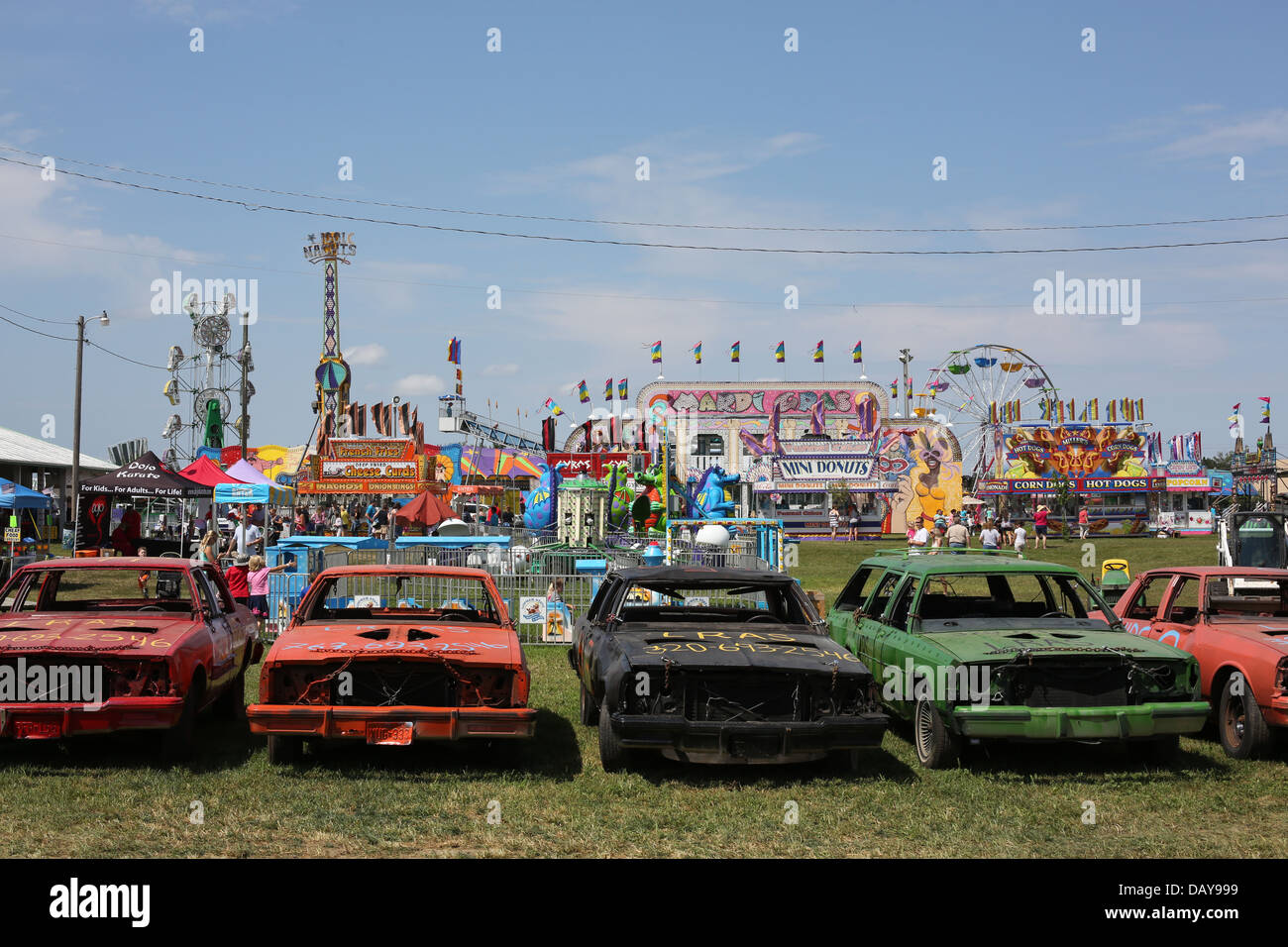 Demolition Derby Cars Lined Up At A County Fair Stock Photo - Derby cars
