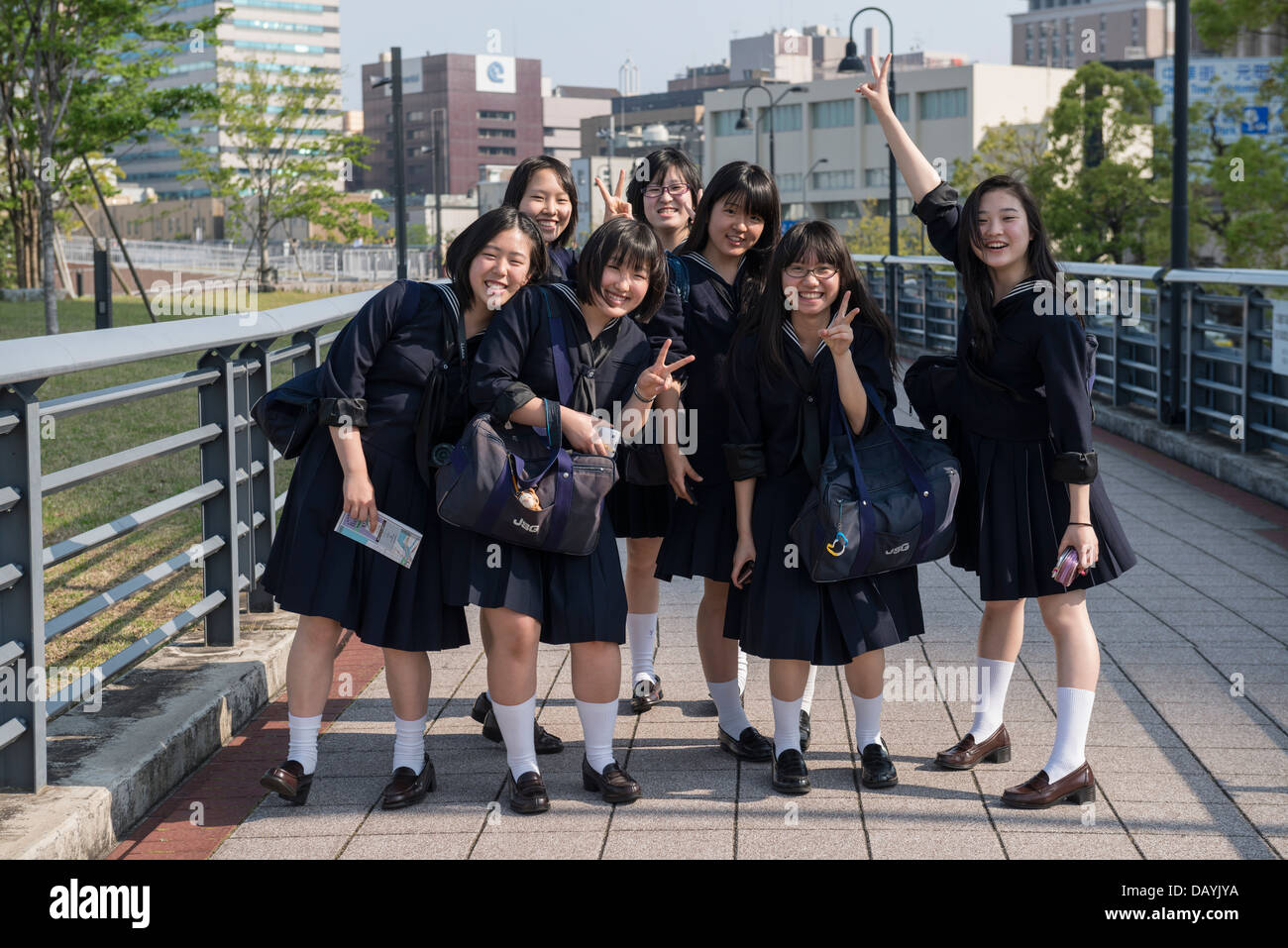 Japanese School Girls, Shinko, Yokohama Stock Photo ...