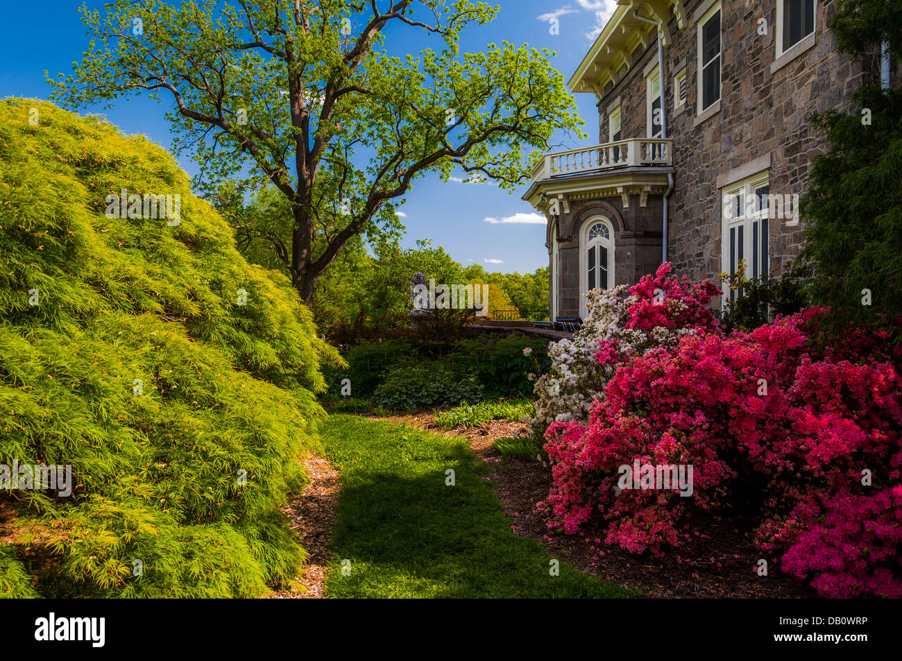 Colorful trees and bushes behind the mansion at Cylburn Arboretum ...