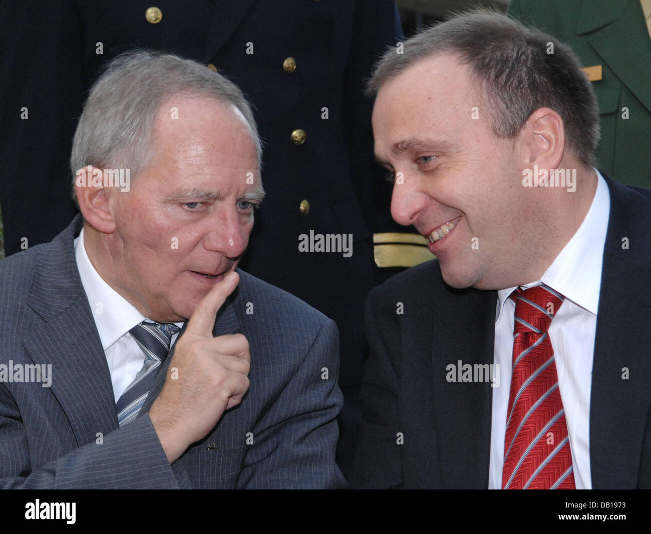 German Interior Minister Wolfgang Schaeuble (L) meets his new Polish ...