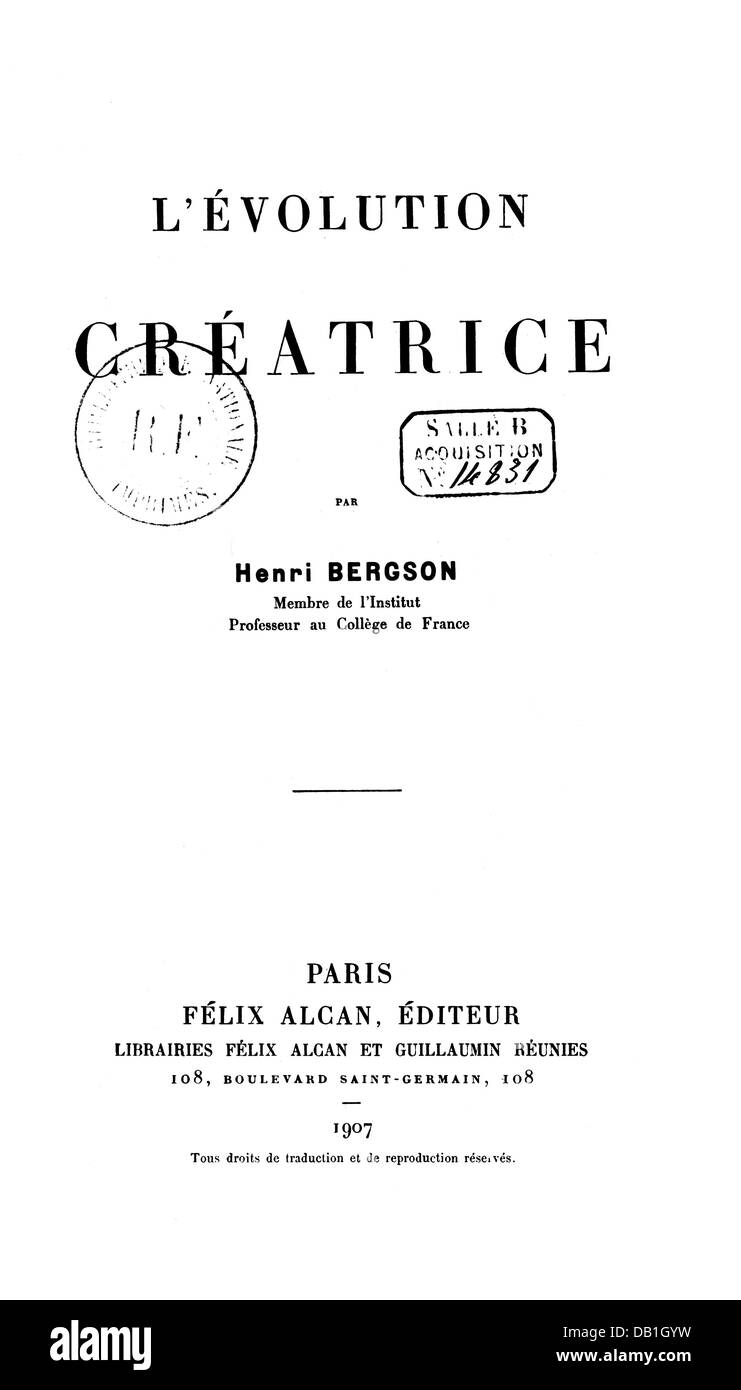 bergson henri french philosopher stock bergson henri 18 10 1859 4 1 1941 french philosopher l evolution creatrice creative evolution title page paris