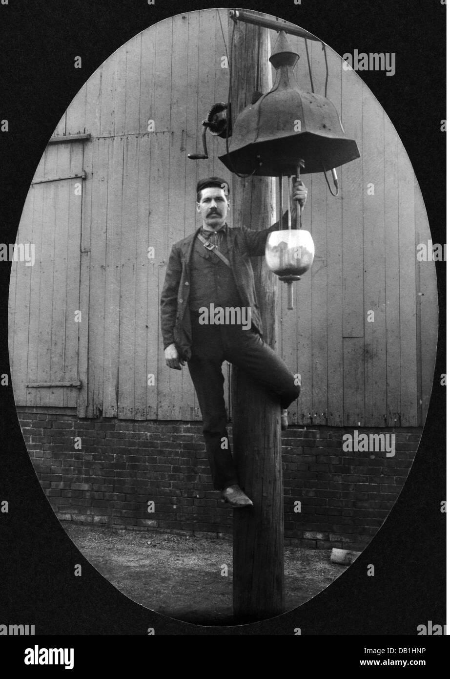 energy, gas, lamplighter with gas lantern, circa 1900 ...