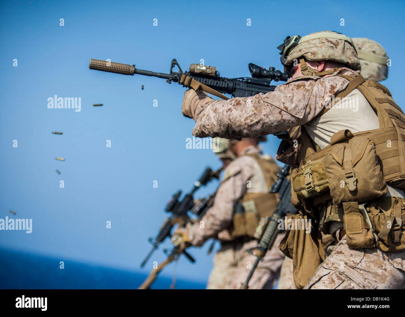 U.S. Marines assigned to Scout Sniper Platoon, Battalion Landing ...