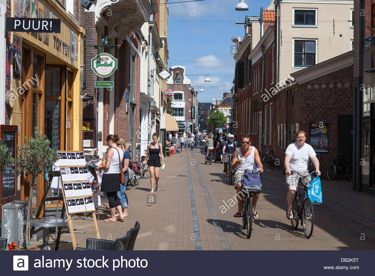 shopping street in the city center of groningen in the netherlands stock photo royalty free. Black Bedroom Furniture Sets. Home Design Ideas