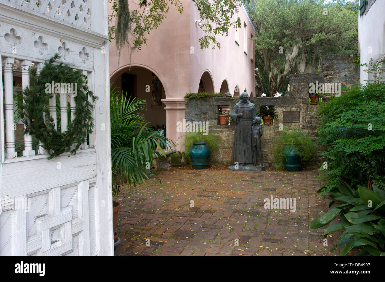 Courtyard Oldest House Museum St Augustine Florida USA Stock - Oldest museums in usa