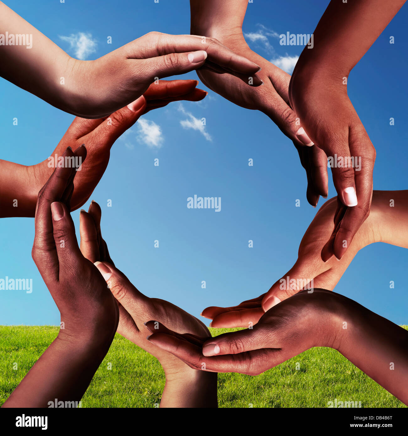 Conceptual peace and unity symbol of different black african stock conceptual peace and unity symbol of different black african ethnicity hands making a circle together on blue sky biocorpaavc Gallery