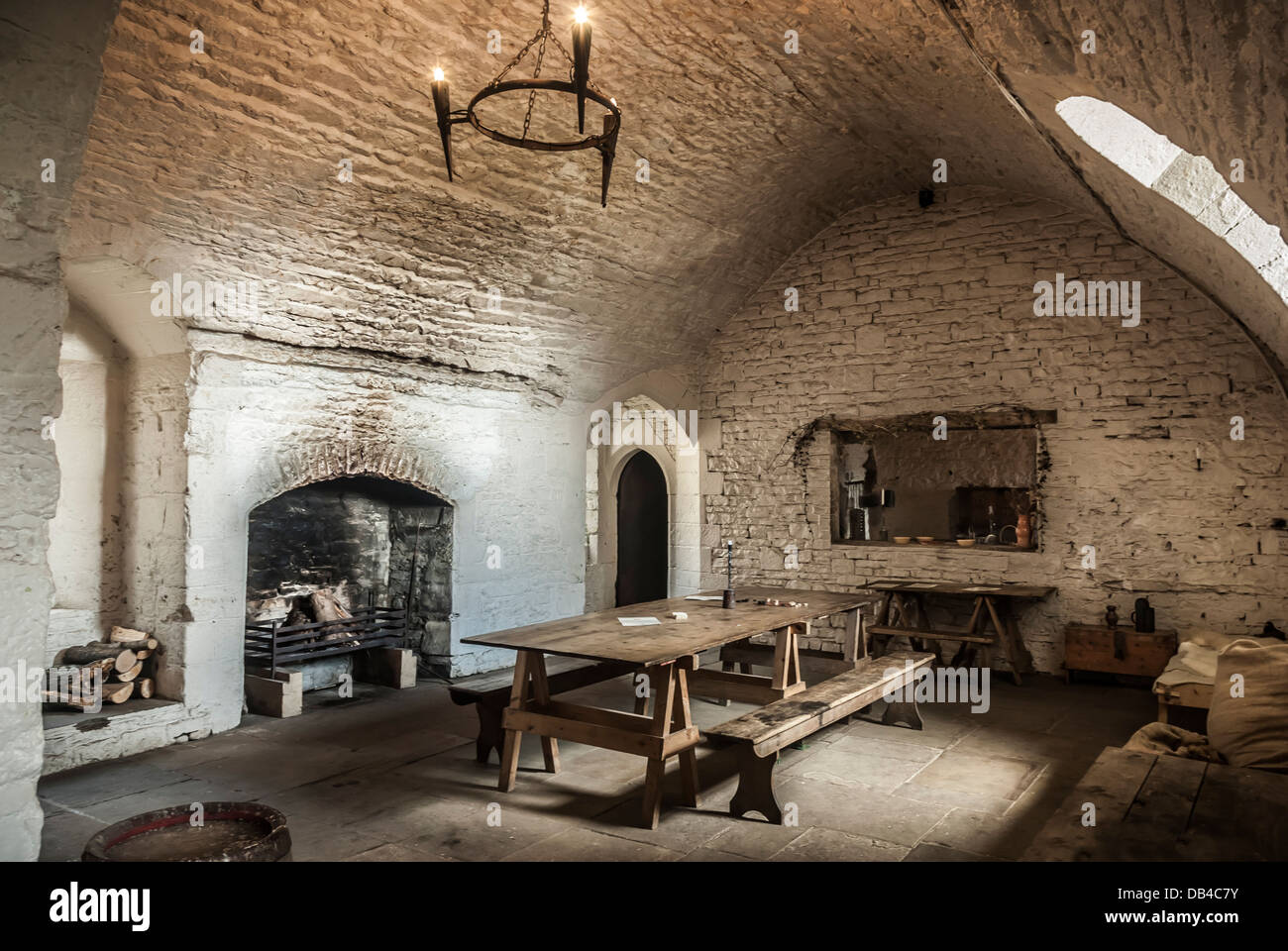 a dining roomkitchen inside a medieval castle stock photo