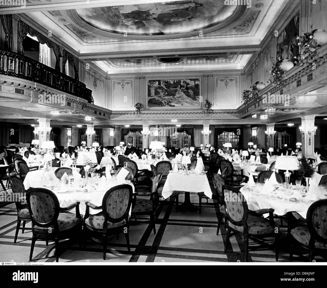 Transport Transportation Navigation Ship Interior Dining Hall - 1930s cruise ships