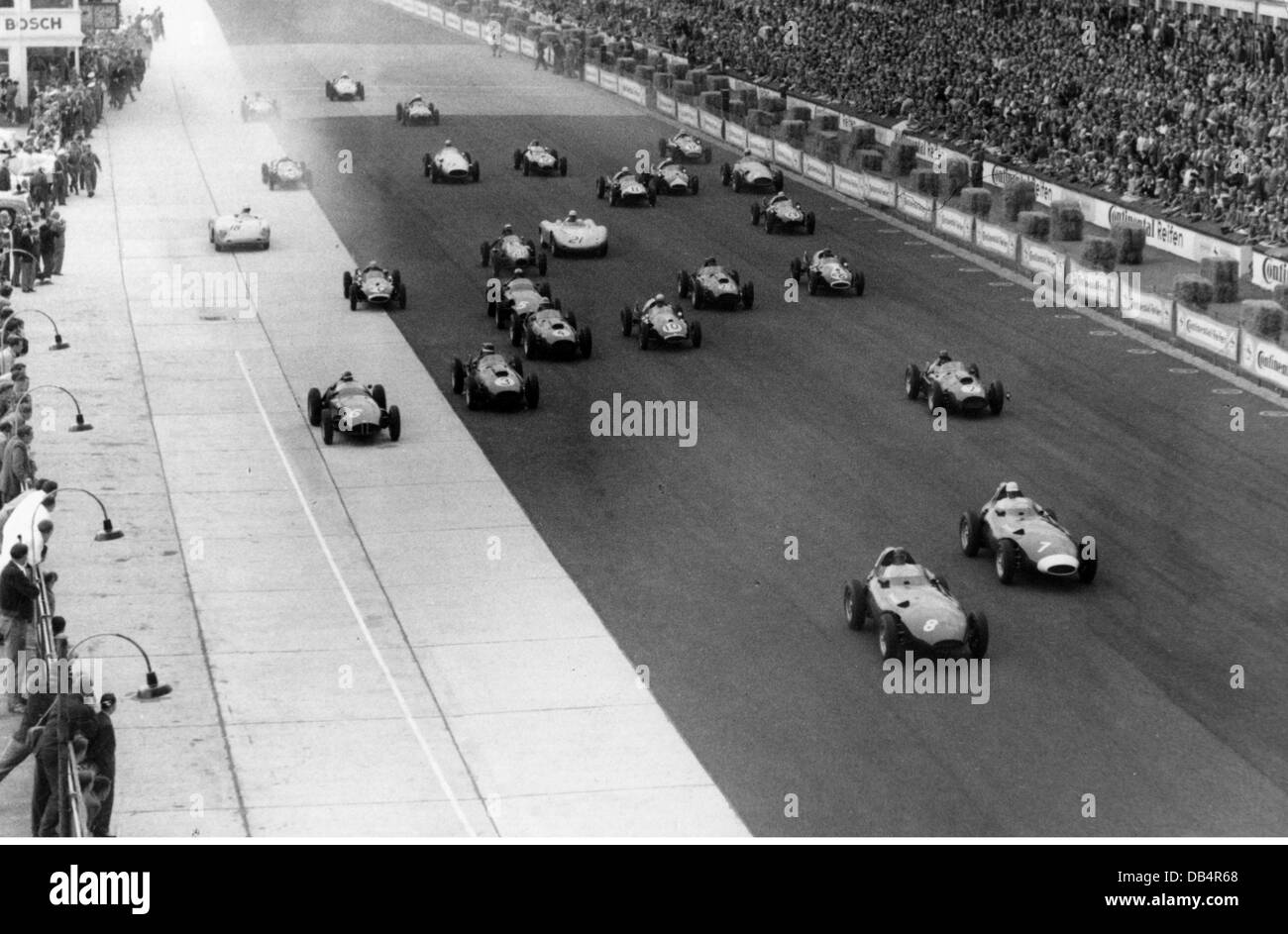 Sport, Car Racing, Start, Germany, 1950s, 50s, Cars, Circuit, Track,  Course, Starting, 20th Century, Historic, Historical, Peop