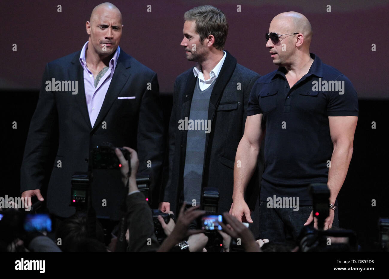 dwayne johnson paul walker and vin diesel 39 fast furious 5 39 stock photo royalty free image. Black Bedroom Furniture Sets. Home Design Ideas