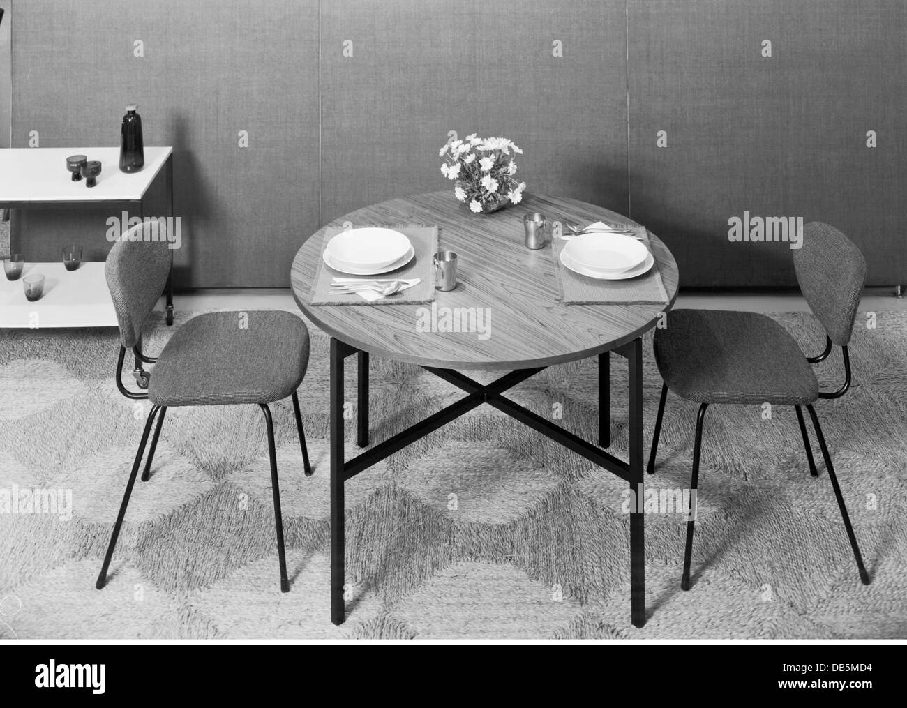 Stock Photo   Furniture, Dining Room, 1960, 1960s, 60s, 20th Century,  Historic, Historical, Chair, Chairs, Breakfast Table, Dining Table, Din