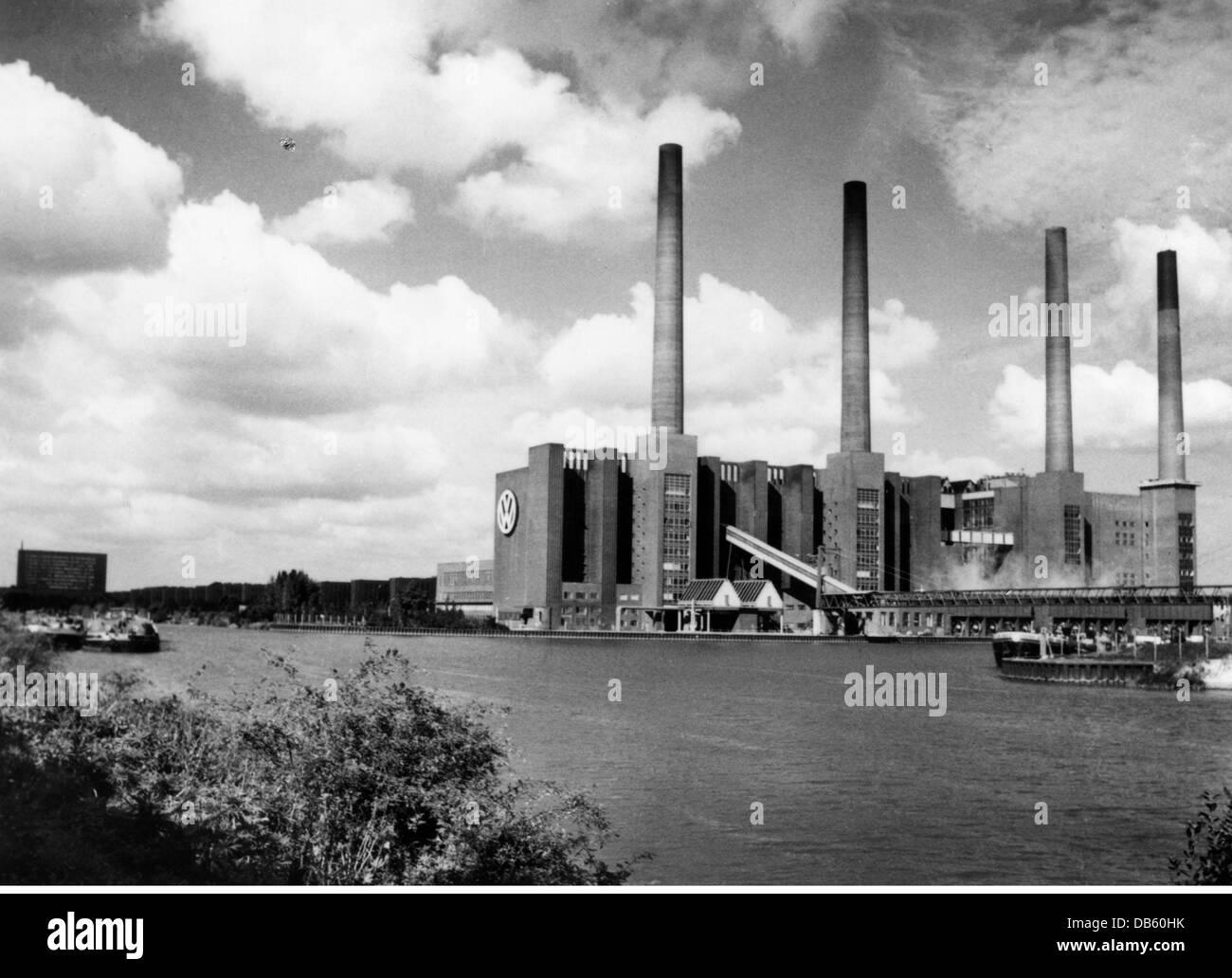 Industry cars volkswagen works in wolfsburg west germany energy supply by mittelland canal power station 1970s mittellandk