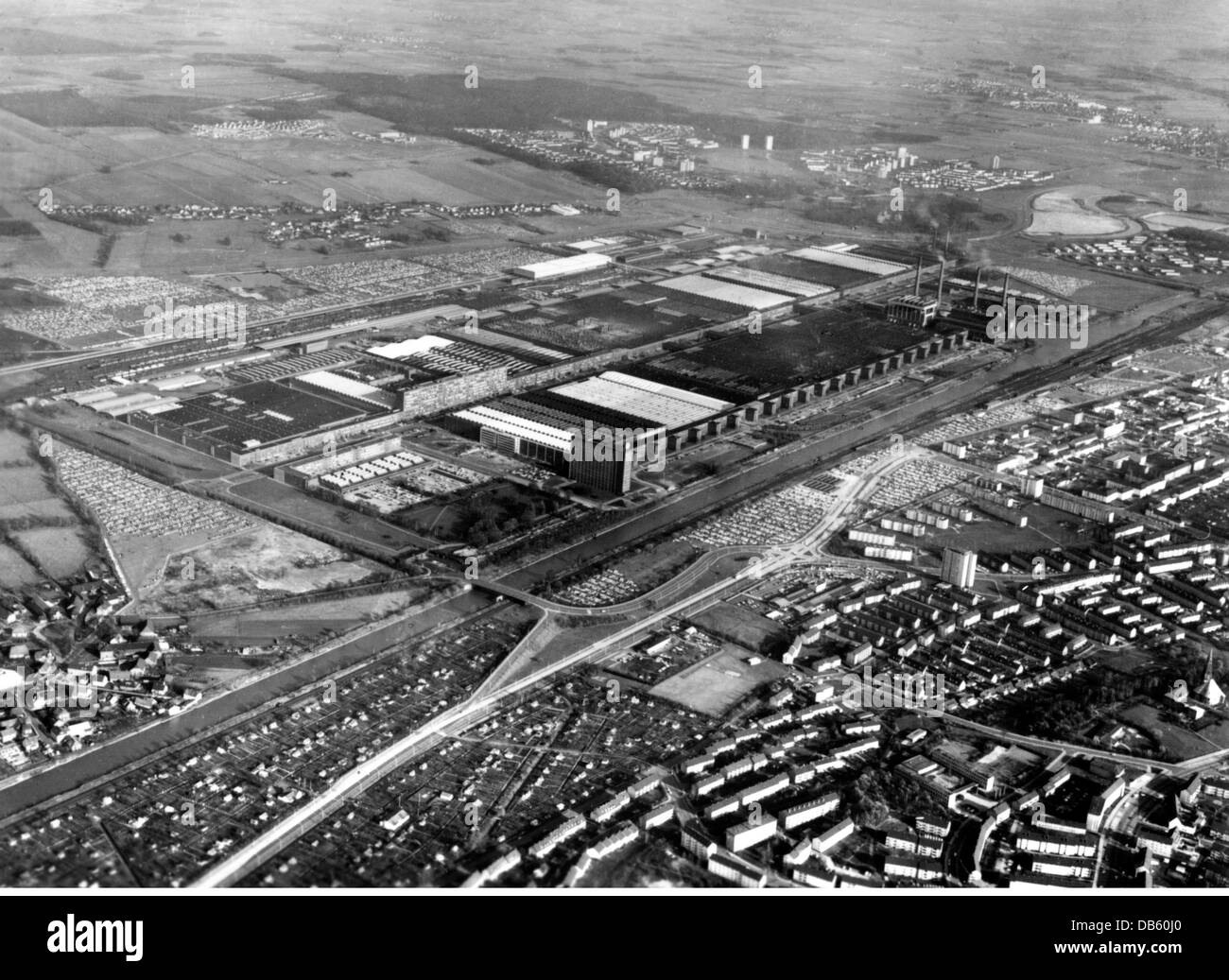 Stock photo industry cars volkswagen works in wolfsburg west germany aerial view 1970s factory car vw lower saxony 20th century h