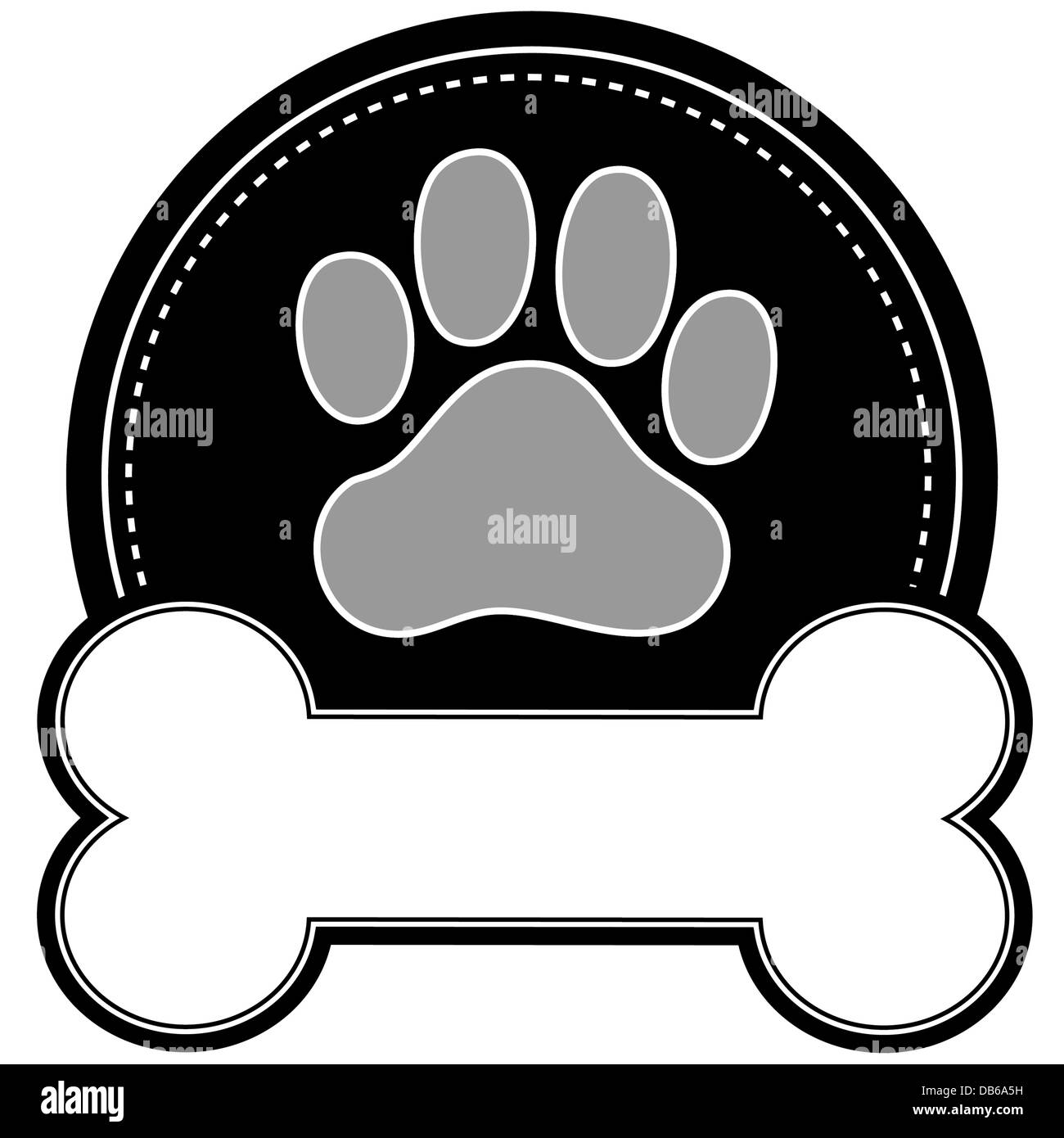 a dog paw print and dog bone with room for text in a circular design stock photo 58532029 alamy vector paw print free vector paw print outline