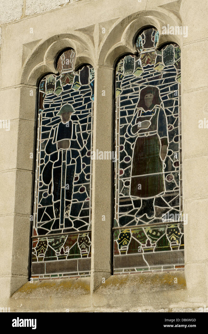 Stained Glass Windows Depicting Canadian World War I Soldier And A Nurse Memorial United