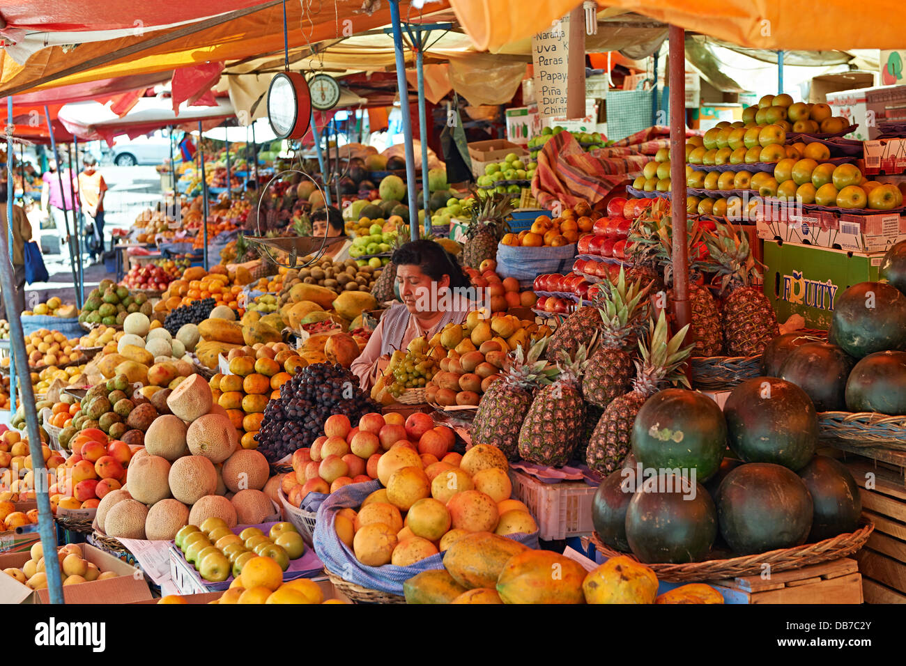 market stalls with fruits on mercado central de sucre bolivia south stock photo royalty free. Black Bedroom Furniture Sets. Home Design Ideas