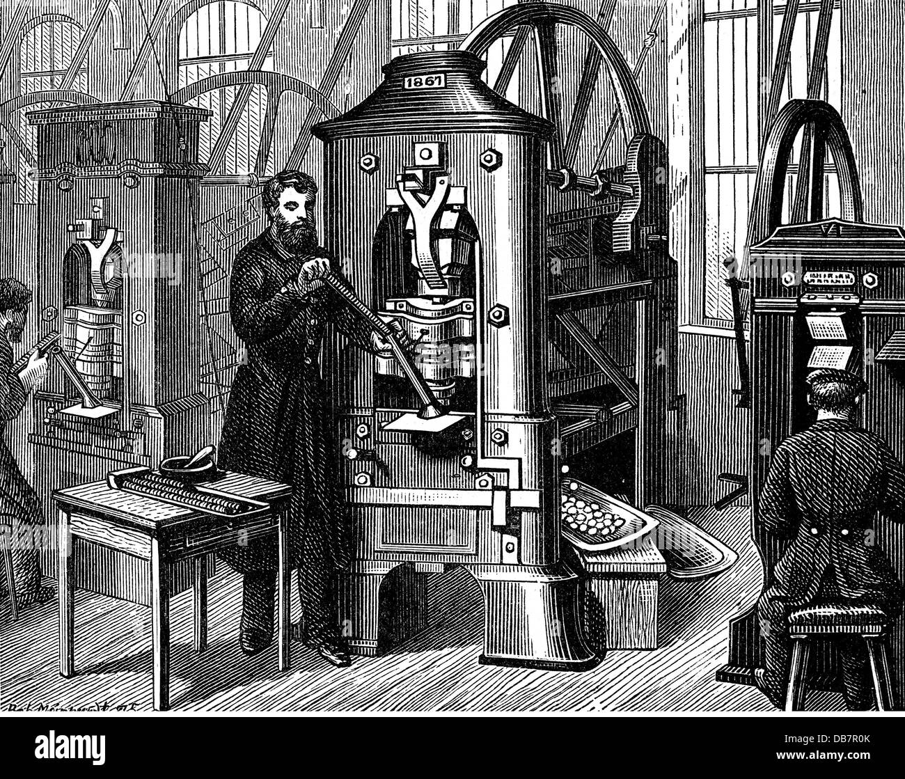 money finances mintage machines for stamping coins made of silver ...