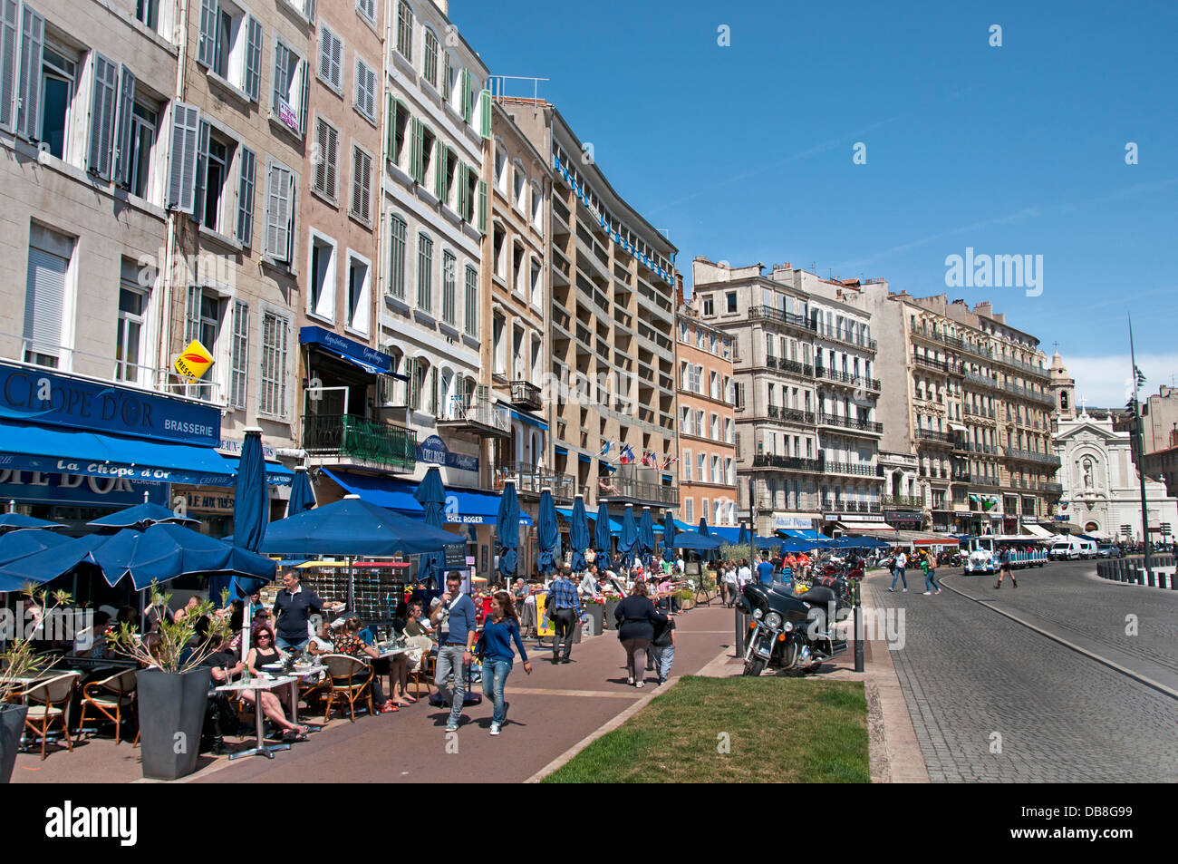 Quai du port restaurant cafe bar pub marseilles france old vieux port stock photo royalty free - Restaurant le vieux port marseille ...