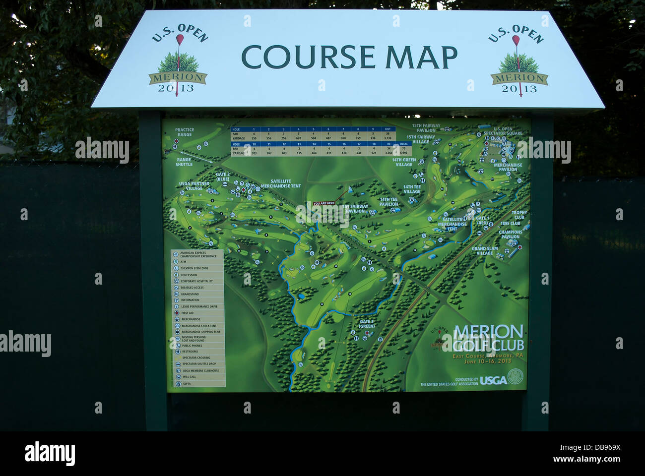 course map merion golf club site of 2013 us open golf haverford township near ardmore pennsylvania usa