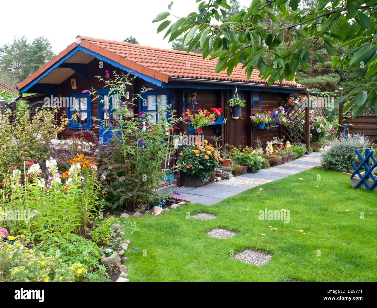 Wooden Garden House In An Allotment Garden Stock Photo