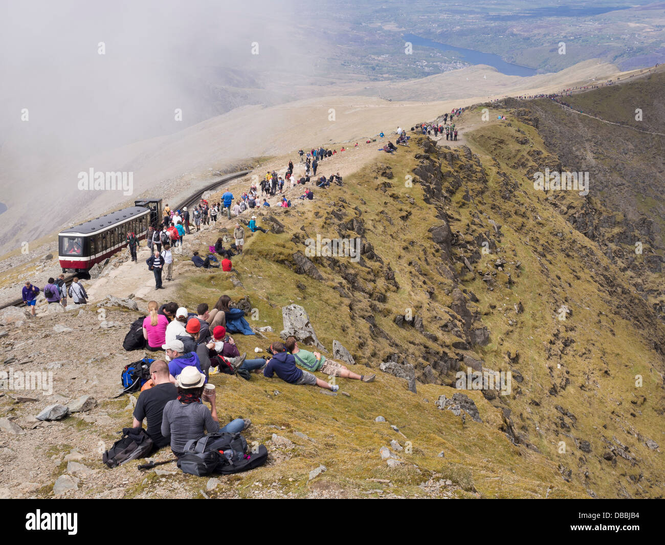 Crowds Of People By Railway On Mt Snowdon Summit On A Busy Summer ...