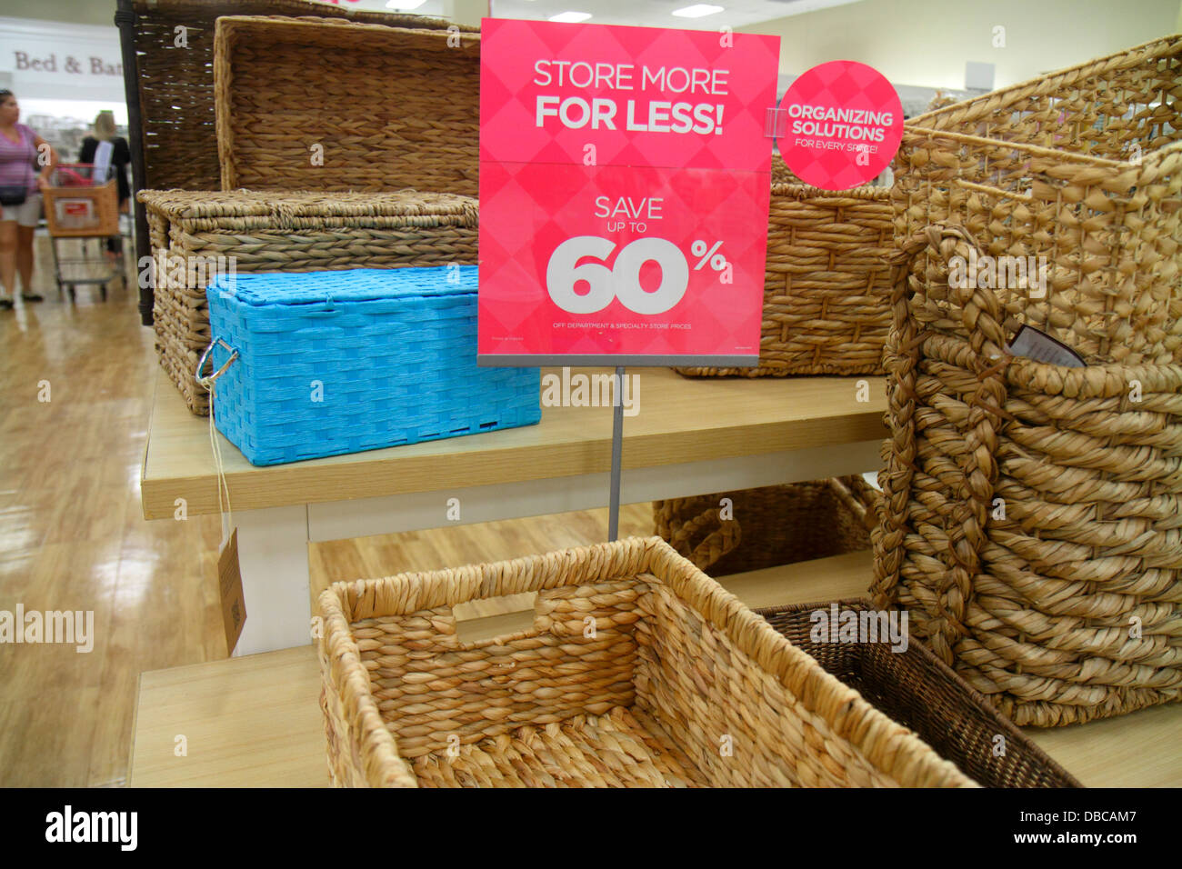 Miami Florida Aventura Marshalls Home Goods discount department store  retail display sale sign 60  off baskets storage. Miami Florida Aventura Marshalls Home Goods discount department