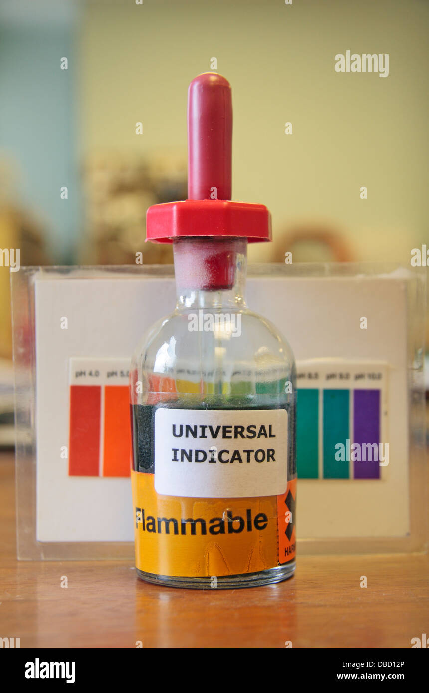 A small bottle of universal indicator with pH chart on a desk in a ... for Universal Indicator Solution  66plt