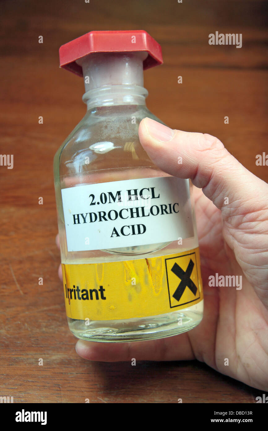 A Bottle Of 20M Hydrochloric Acid HCL As Used In UK High School