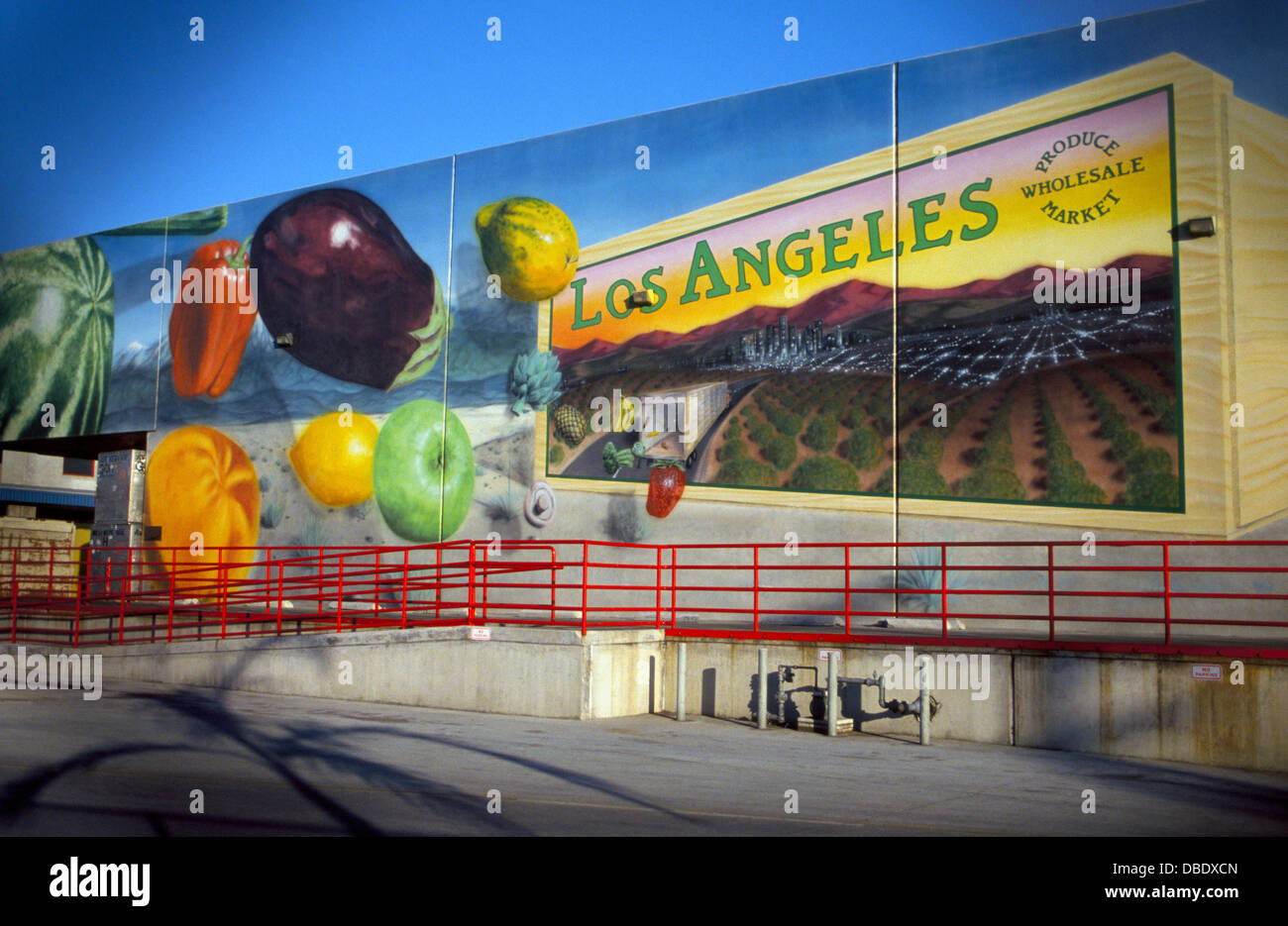 A monumental wall mural of colorful fruits and vegetables a monumental wall mural of colorful fruits and vegetables decorates a warehouse at the los angeles wholesale produce market in southern california amipublicfo Gallery