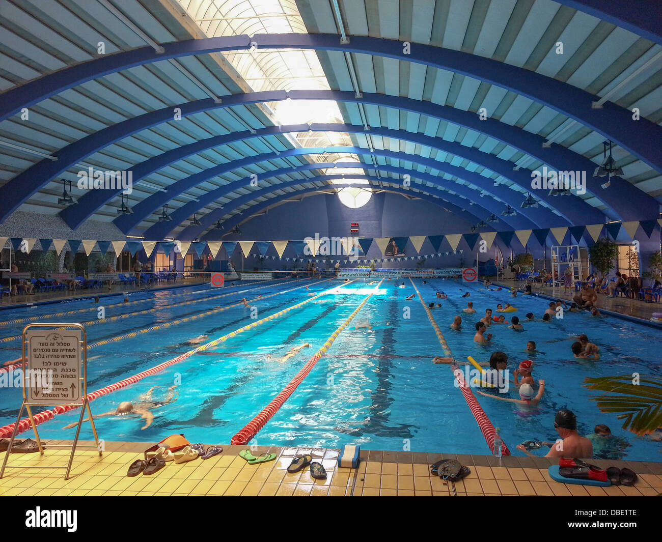 Indoor olympic sized swimming pool at the technion haifa israel stock photo royalty free for How much is an olympic swimming pool